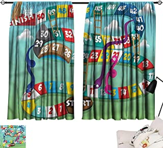 Turquoise Curtains Board Game,Swirled Snakes Ladders 54