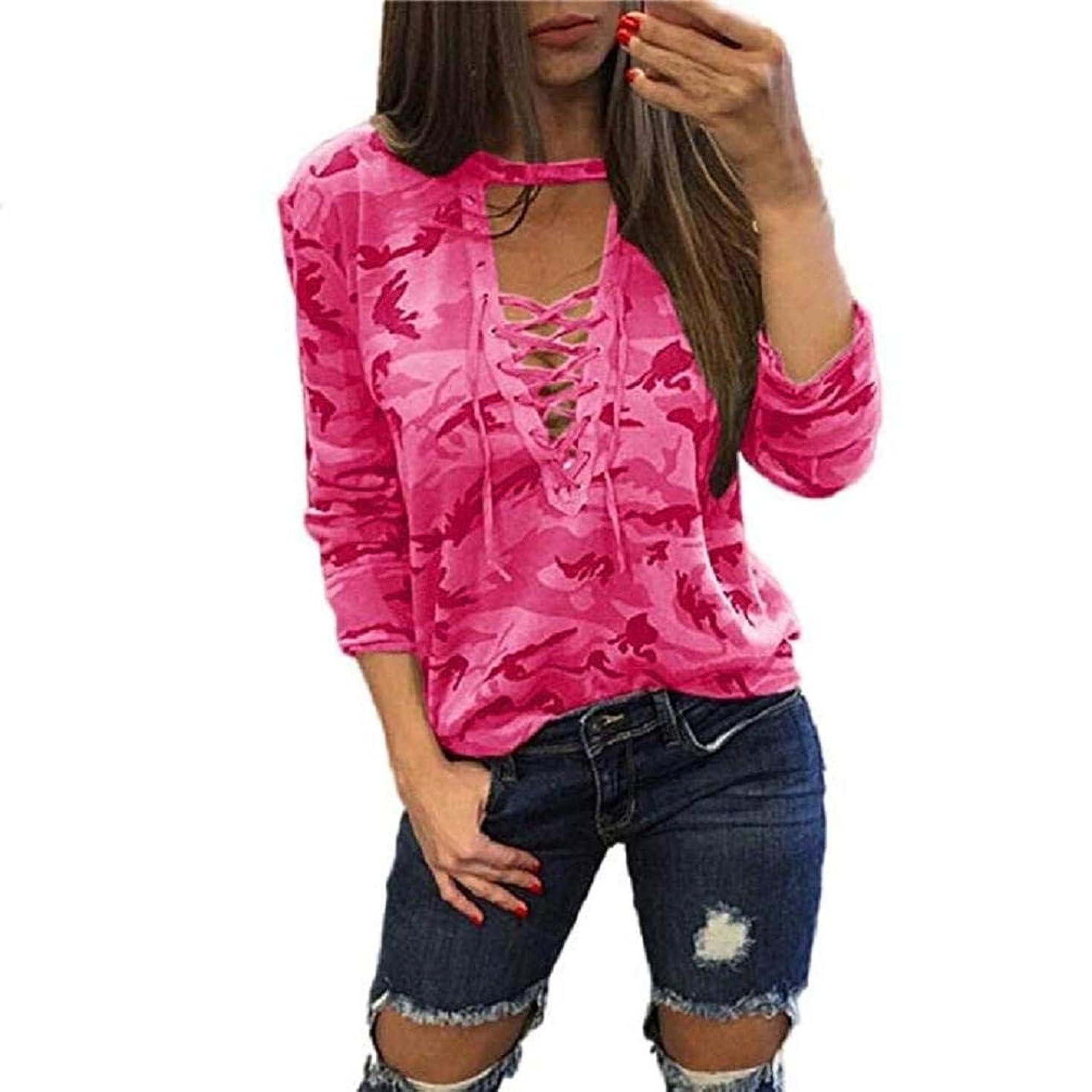 Noopvan Women Long Sleeve Camouflage Blouse Shirt Casual Fashion Loose T Shirt Tops