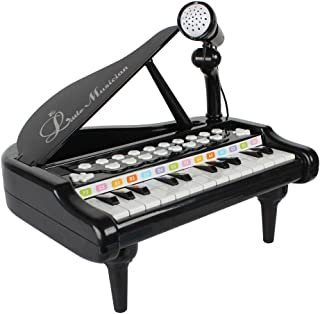 BAOLI 24 Keys Keyboard Kids Toy Piano with Microphone - Black