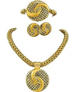 Dubai African Women Wedding Gold Wire Charm Necklace Bracelet Earrings Ring Nigerian Bridal Jewelry Sets