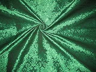 puresilks Spun Brocade Fabric Emerald Green Colour 44
