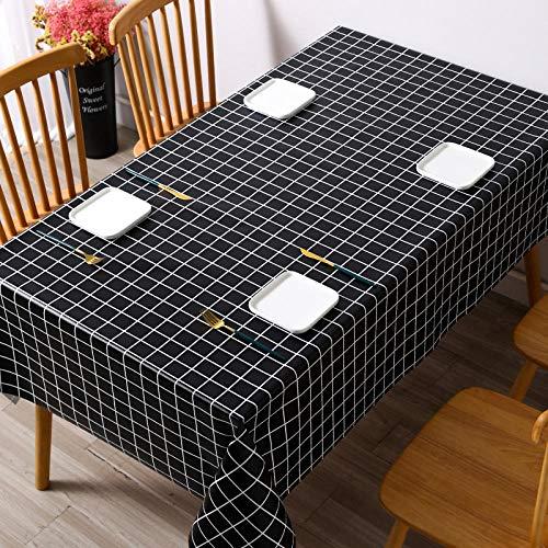 Kuingbhn Manteles de Mesa con Efecto Lavable Anti Escaldado y Duradero Resistente a La Suciedad Impermeable Rejilla Negra 120×120cm