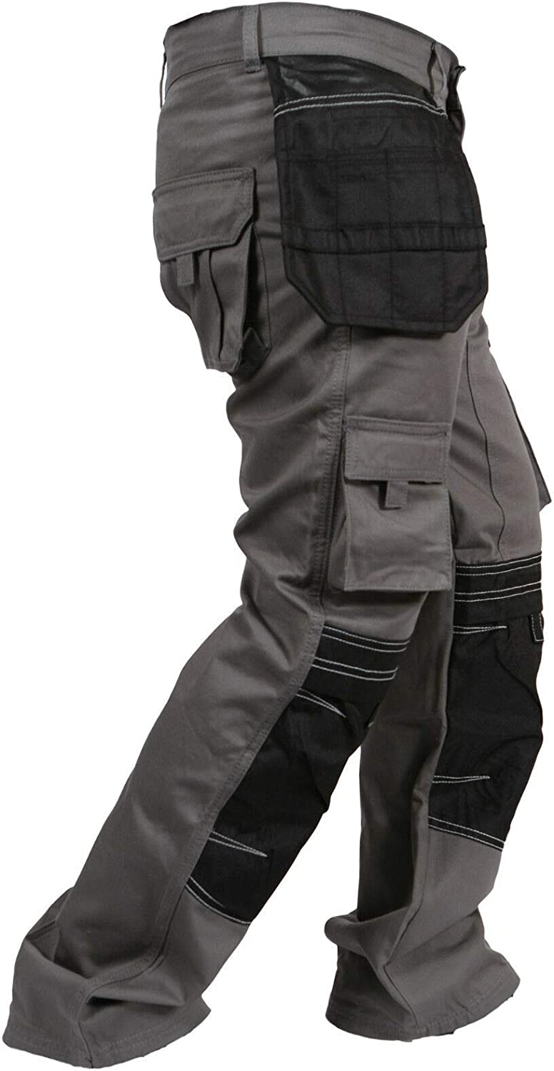 newfacelook Mens Work Trousers Multi Pockets with Knee Pockets Men Cargo Pants for Man