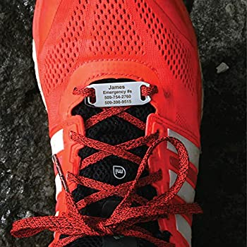 GoTags Shoe ID Tags Important ID for Runners Cyclists Athletes Travelers and Children Secure Stainless Steel ID Tag Threads on to Any Shoelace Custom Engraved with up to 4 Lines of Text
