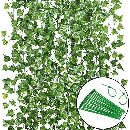 MYSELFLY 24 Pack (Each 82inch) (Total 160 Feet) Artificial Ivy Greenery Fake Hanging Vine Plants Leaf Garland Hanging for Wedding Party Garden Outdoor Greenery Office Kitchen Home Wall Decoration