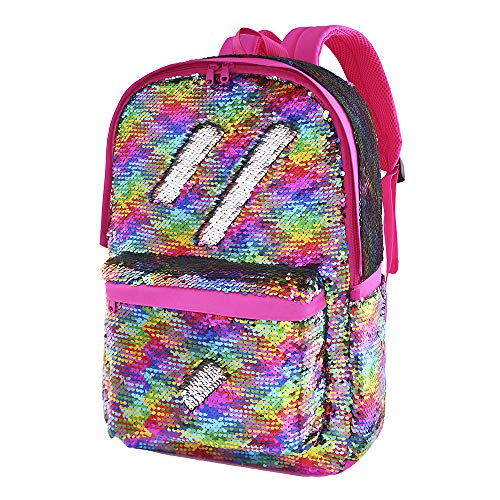 Flip Sequin Backpack for Girls Kids Kindergarten Elementary Middle School Bookbag Cute Spark Book Bags Teen Travel Outdoor Daypack Back Pack(Rainbow)