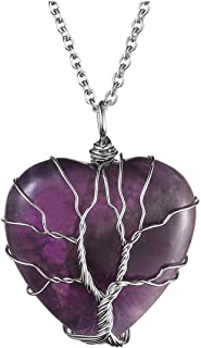 Top Plaza Natural Amethyst Healing Crystals Necklace Silver Tree of Life Wire Wrapped Heart Shape Stone Pendant for Womens Girls Ladies