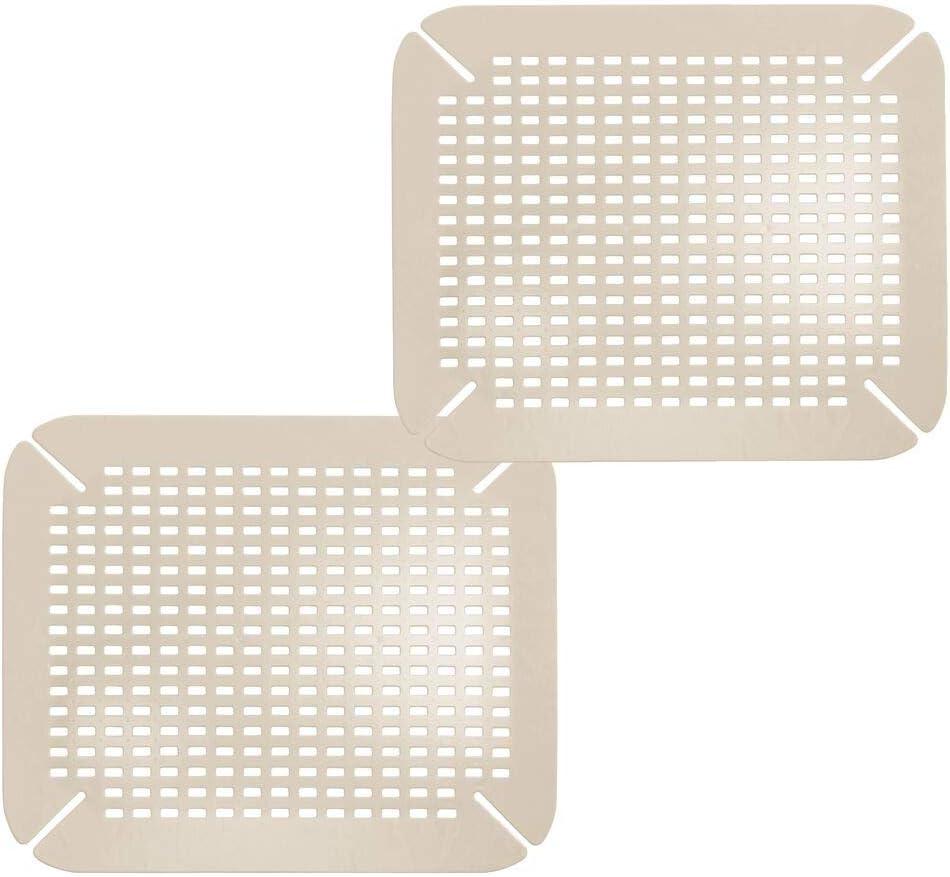 mDesign Juego de 2 Alfombrillas para fregadero – Práctico tapete protector para vajilla – Para evitar que la vajilla se golpee, se dañe o se rompa al lavar - Color: gris topo