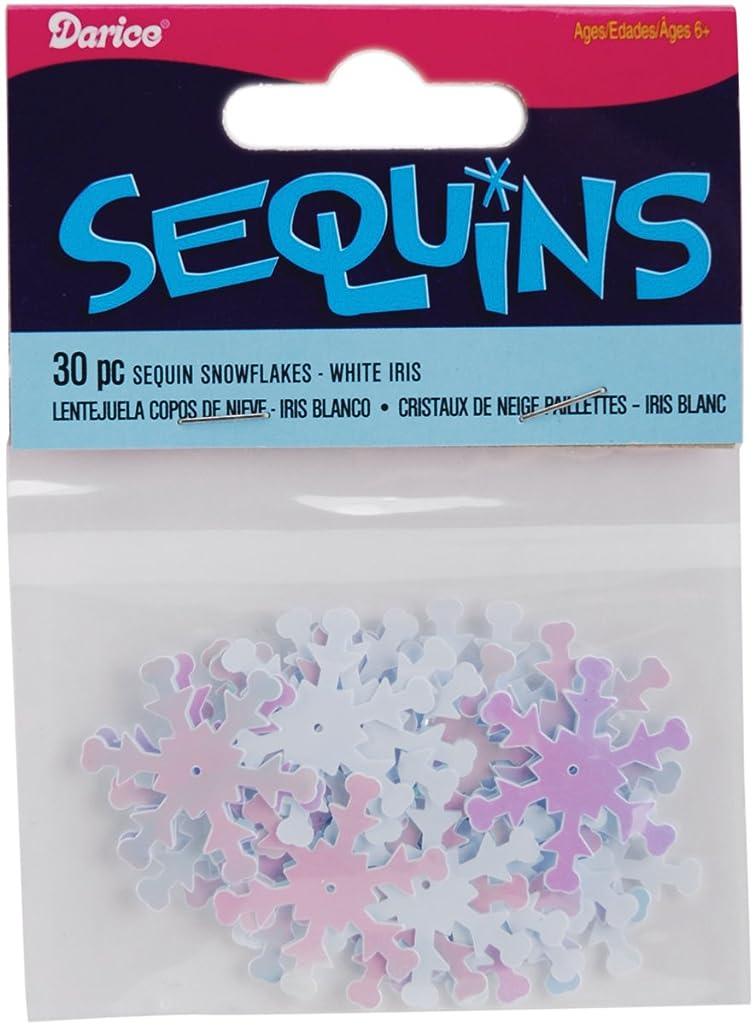 Darice 1002617 Snowflake Sequins, 1-Inch, White Iridescent, 30-Pack