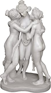 Top Collection Large Three Graces Statue 28-Inch Sculpture in Premium Cold Cast Marble. Museum-Grade Masterpiece Replica.