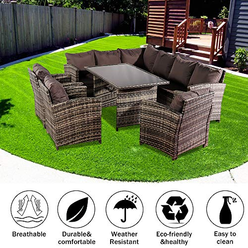 Rattan Garden Furniture Set,Arrival in 2-5 days, Oshion 9 Seat Rattan Furniture ,Patio Rattan Dining Table Set, Outdoor Sofa Dining Table with Free Rain Cover 3 Single Chair Sofa Dark Gray Sofa Cover