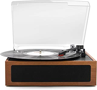 LP&No.1 Vintage Vinyl Record Player with Stereo Speakers,3 Speed Turntable, Light Brown