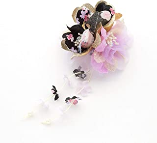 [ミッシュキッシュ]髪飾り ヘアアクセサリー コサージュ 金ラメ生地がアクセントの和柄クリップ 4517-474