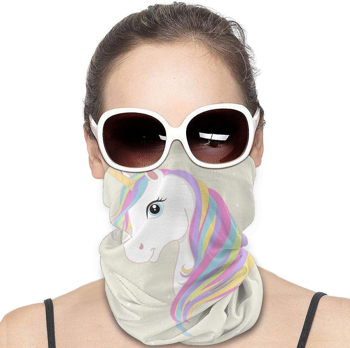 KiuLoam Women Bandanas Face Mask, Unicorn Magic Stars Neck Gaiter Mask Headband for Men Face Scarf Dust, Outdoors, Sports