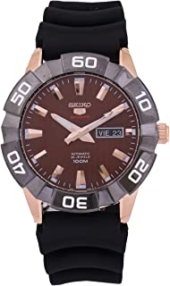 Seiko 5 Sports SRPA58 Men's Rose Gold Tone Brown Dial Resin Band Automatic Watch
