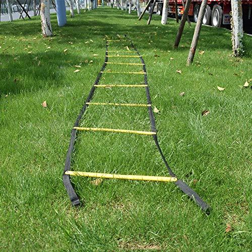 Fixe Speed Ladder Agility Ladder Pace Training Échelle de Corde 5 M 12 avec Un Sac de Transport, pour Les Enfants Adultes Rung Fonctionnelle Ballon d'entraînement, Le Football et Plus