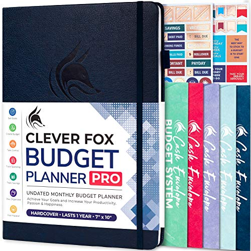 "Clever Fox Budget Planner Pro – Financial Organizer + Cash Envelopes. Monthly Finance Journal, Expense Tracker & Personal Account Book, Undated, (7"" x 10"") – Dark Blue"