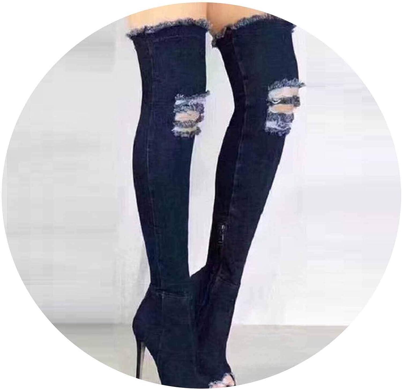 Women Sexy Stiletto Denim Over The Knee High Boots Zipper High Boots Women Peep Toe Pumps