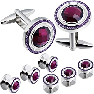HAWSON Crystal Cufflinks and Studs Sets for Men's Tuxedo Shirts with Gift Box - One Pair Cufflinks with 6 pcs Studs