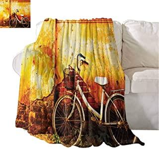 Plush Blankets Vintage Bike in Front of A Rusty Dirty Cracked Broken Brick Wall Lifestyle Artsy Photo Sepia Cozy for Couch Sofa Bed Beach Travel 93x70 Inch