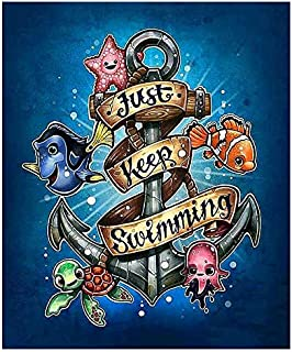 5D Diamond Painting by Number Kit, Full Drill Just Keep Swimming Starfish Octopus Fish Flowers Rhinestone Embroidery Cross Stitch Supply Arts Craft Canvas Wall Decor