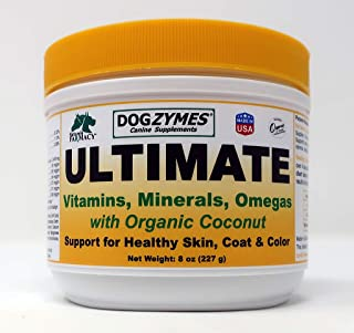 Dogzymes Ultimate Skin Coat Organic Coconut Algal Oil Parmesan Cheese Vitamins Minerals Omegas