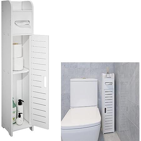 FRSTONE トイレ収納 ペーパー ティッシュ収納 玄関収納 幅15*奥行15*高さ80cm 便利 スリム ホワイト おしゃれ 組み立て式 工具不要