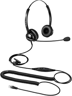 Telephone Headset for Offices Call Center RJ9 Headset with Microphone Noise Cancelling Mic Mute and Volume Control for Ava...