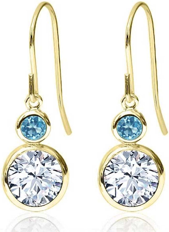 1.98 Ct Round White Zirconia Swiss bluee Topaz 14K Yellow gold Earrings