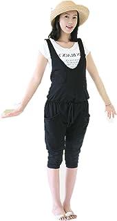 【スマイルハウス】 マタニティ オーバーオール ウエスト ゆったり ショートパンツ オールインワン レディース ブラック