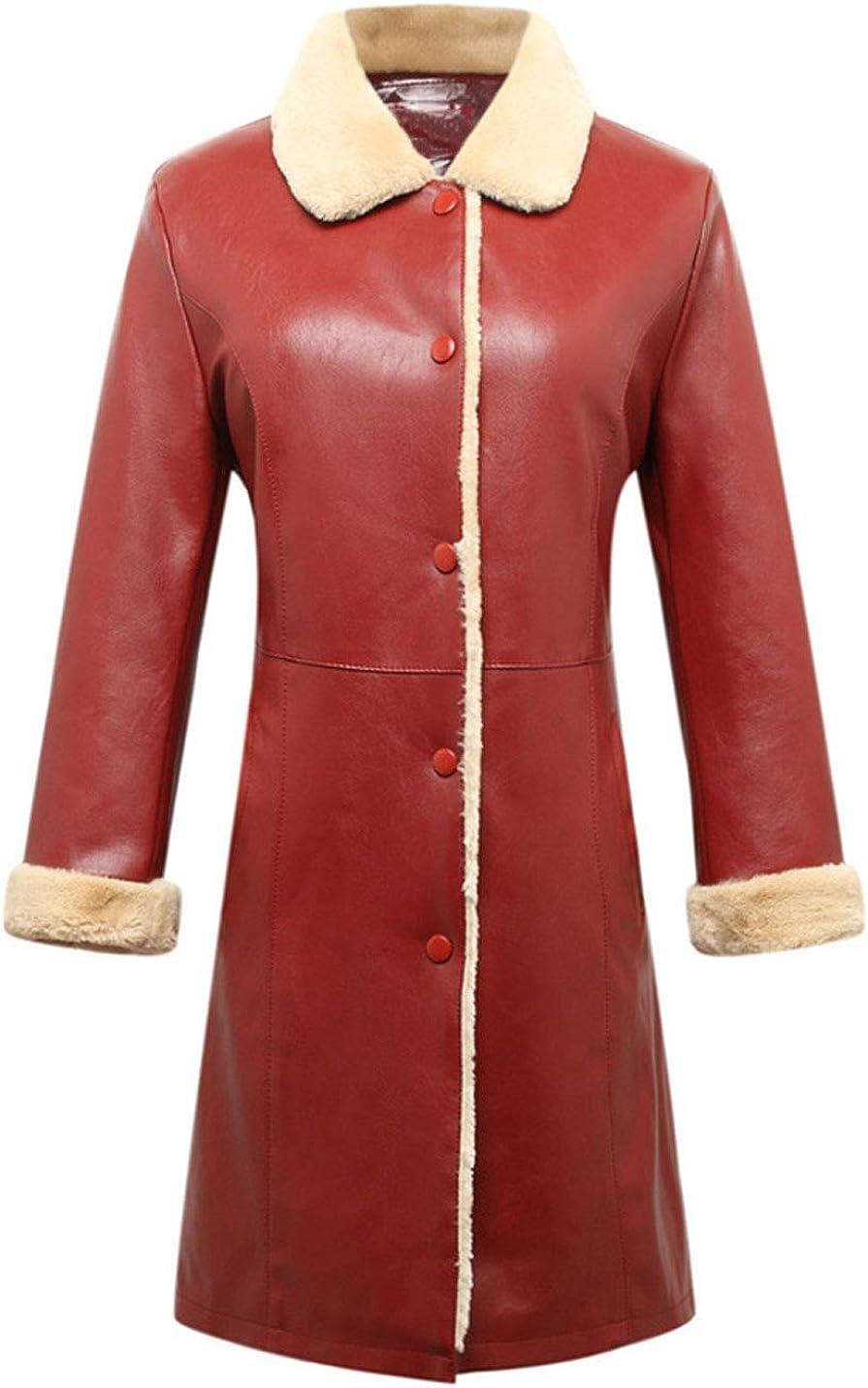 Lentta Womens Casual Mid Long Fleece Lined Faux PU Leather Shearling Jacket Coats