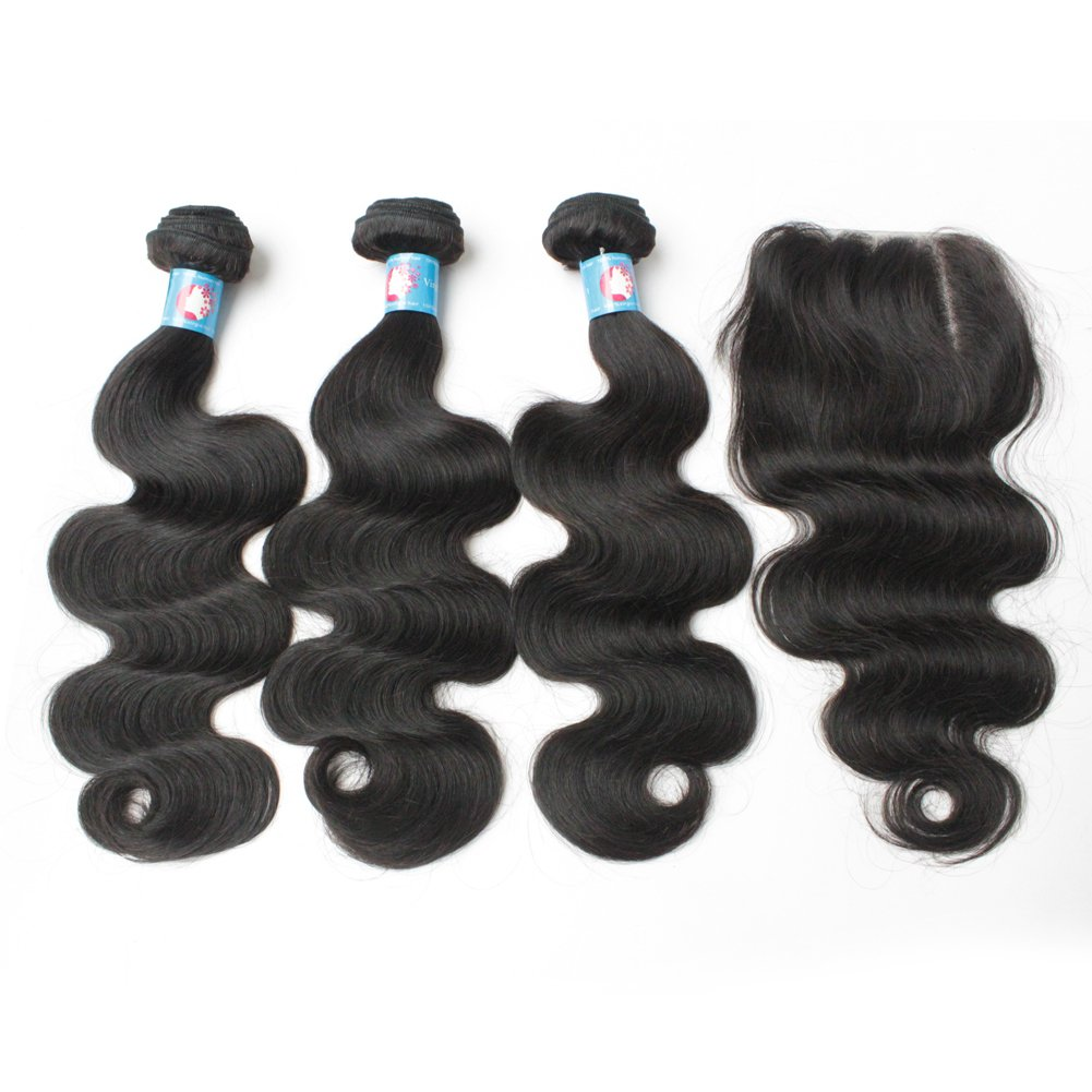 ギフト Forawme [並行輸入品] Peruvian Virgin Hair Weaves With an Wet Lot 4pcs Closure