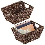 mDesign Juego de 2 cestas trenzadas con asas – Prácticas cestas organizadoras...