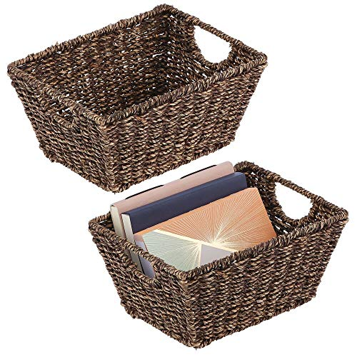 mDesign Set of 2 Wicker Storage Baskets with Handles – Foldable Seagrass Storage Baskets for Household Items – Wicker Baskets for The Living Room, Bathroom or Hallway – Dark Brown