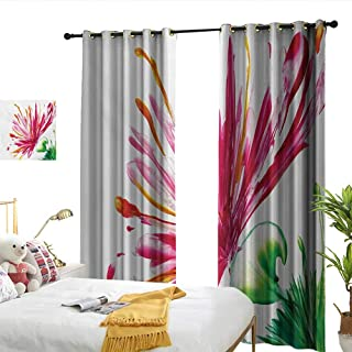 WinfreyDecor Watercolor Flower Blackout Curtains Opened Out Asiatic Oriental Lily Freesia Florets Work of Art Print Darkening and Thermal Insulating W108 x L84