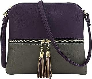 Big Promotion!!!HYIRI Women's tassel crossbody bag middle zipper contrast color shoulder bag Messenger bag