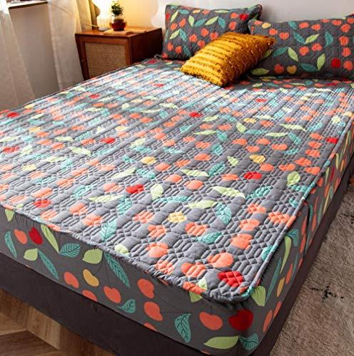KIrSv Protector de colchón,Placa de pañal Impermeable,sábanas Ajustadas Gruesas de algodón Puro,Funda de colchón Fija y Transpirable Antideslizante para Dormir Desnudo-F_180x220cm+30cm
