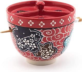 Happy Sales HSRB-BCLRD4, Multi Purpose Japanese Design Ceramic Ramen Udong Soba Tempura Noodle Pho Donburi Rice Tayo Bowl with Chopsticks and Condiment Lid 6