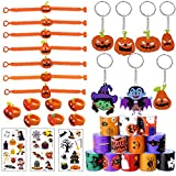 RELIGES 48 Pack Halloween Party Favors Assortment-Bracelet, Finger Ring, Key Chain and Sticker, Funny Treat Gifts for Kids, Halloween Goodies Toy Present for Halloween Trick or Treat (Halloween Deco)