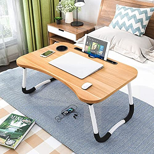 Parivar Foldable Bed Study Table Portable Multifunction Laptop Table Lapdesk for Children Bed Foldabe Table Work Office Home with Tablet Slot & Cup Holder Bed Study Table Brown Coloured