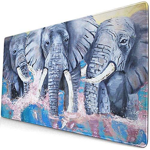 Gemalte Elefanten in Wellen Designmuster XXL XL Große Gaming-Mauspadmatte Langes verlängertes Mousepad-Schreibtischpad 40 * 75 cm
