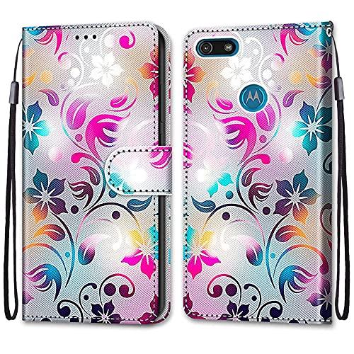 nancencen Kompatibel mit Motorola Moto E6 Play Handyhülle, Flip Cover Schutzhülle (Anti-Fall) Kartenschlitz Portemonnaie Stil - Buntes Muster