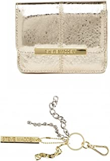 23f35b9b5c7 Steve Madden Gold Metallic Accordion French Wallet + Key Ring Clip