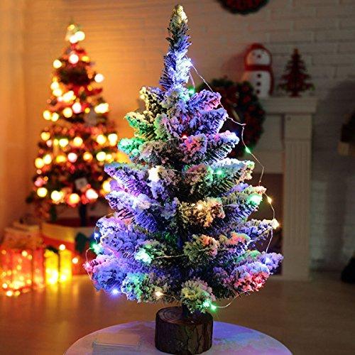 PXUDB 50cm Fibra Ottica Albero di Natale Artificiale Pino Verde con Neve LED Illuminato Albero di Natale Luci Colorate Decorazioni di Festa Base in Legno