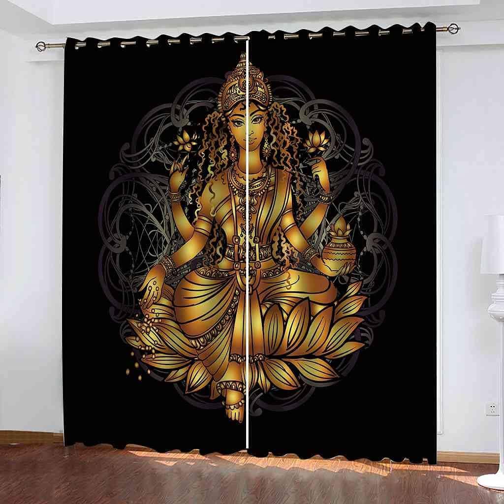 JNWVU 3D Digital Printing Buddha Curtains Eyelet Direct stock discount Window Pattern Regular discount
