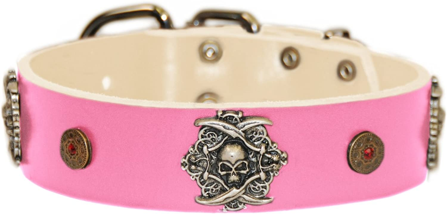 Dean and Tyler  THE PIRATE  Dog Collar With Nickel Buckle  Pink  Size 46cm By 4cm Width. Fits neck size 16 Inches to 20 Inches.