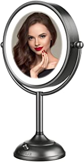 """Professional 8.5"""" Lighted Makeup Mirror, 10X Magnifying Vanity Mirror with 32 Medical LED Lights, Senior Satin Nickel Cosm..."""