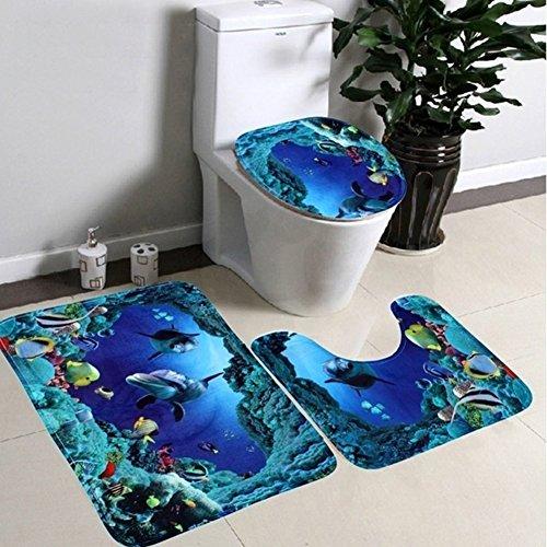 Bathroom Rug Set 3 Piece Dolphin Bathroom Rug and Toilet Covers, Non Slip Absorbent Bathroom Mat, U-Shaped Toilet Rug, Elongated Toilet Lid Cover