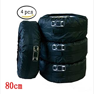 Ken-Tool Black Car 13-16'',17-20'' Automotive Spare Tire Tyre Wheel Cover with Carrying Handles Tote Car Wheel Protector Storage Bag (4PCS of Pack) (80CM)