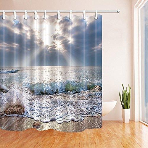 CDHBH Natur Landschaften Duschvorhang für Badezimmer Meer Strand Wellen Sonne, aus Polyester-Stoff, wasserdicht, Duschvorhang Badezimmer Duschvorhang Haken inklusive 71x 71in